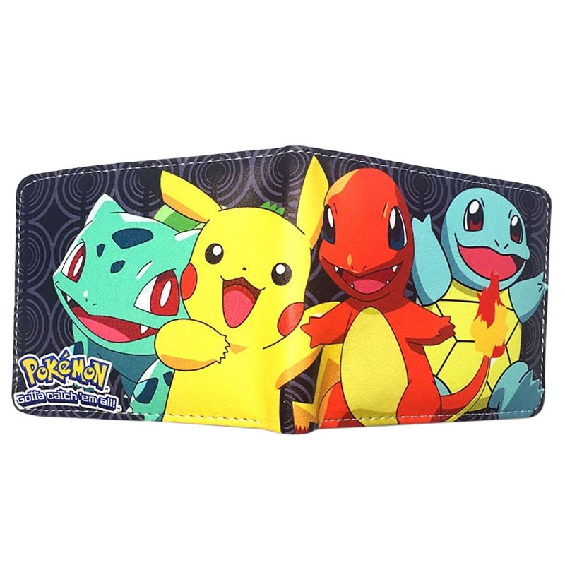 Portefeuille Pokémon starters Bulbizarre Pikachu Salamèche Carapuce
